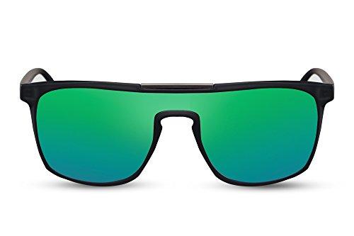 Cheapass Herren Sonnenbrille Matt-Schwarz Grün Verspiegelt Flat-Mirror Spiegel UV-400 Plastik Männer