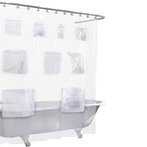 QEES Transparente Simple Duschvorhang Liner mit Mesh Taschen iPad Tablet Oder Telefon Halter 177,8x 182,9cm-Halter Bad Vorhang Wasserdicht Badezimmer Decor ylb25 70