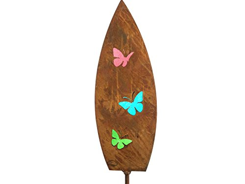 Dekorativer Gartenstecker mit Glas Inlay – Schmetterling Spear