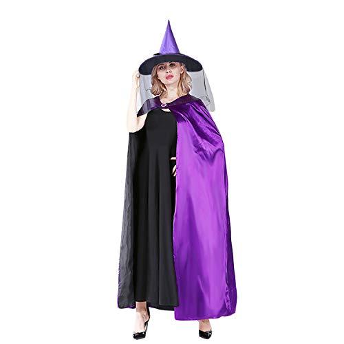 Funpa Halloween Umhang, Damen Schwarzer Umhang Halloween Mäntel Fasching Kostüm Cosplay Kostüm Dekoration mit Hexenhut Lila