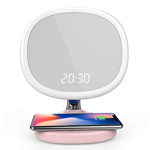 Schminkspiegel-Schreibtischlampe mit LED-Fülllicht und kabelloser Ladefunktion des Telefons, Digitaluhr-Display für Iphone X / 8 / 8Plus Samsung Galaxy S8, Pink
