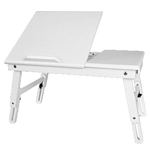 SoBuy® Mesita de cama, mesa para el ordenador portátil, mesa plegable de madera,blanco, FBT02-W,ES