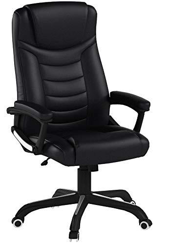 SONGMICS Ergonomischer Bürostuhl, höhenverstellbarer Drehstuhl, robust, stabil und langlebig, schwarz, OBG21B