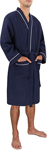 Morgenmantel für Herren aus Baumwolle mit Waffeloptik Farbe Navy Größe 3XL (Bademantel Baumwolle Herren)