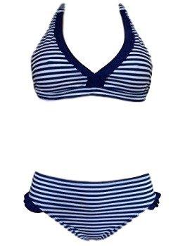 IRKA Mädchen Neckholder-Ausschnitt Bikini/Bademode 122-176 (134-140, Marine Streifen) (Marine Kabelbinder)