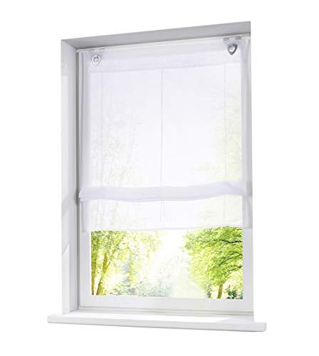 1er-Pack Raffrollo mit U-Haken Weiß Transparent Voile Ösenrollo Vorhang (BxH 120x130cm, Weiß)