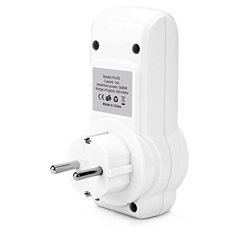 AUKEY Enchufes Inalámbricos Inteligentes con Control Remoto de Salida Eléctrica (3 Enchufes / 1 Mando a Distancia) para Aparatos Electrodomésticos  hasta 30 m / 100 ft Rango de Operación