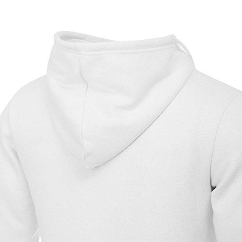 AIRAVATA Uomo Pullover Felpa Con Cappuccio Manica Lunga Con Collo Alto In Pile Cappotti Invernali US Taglie Bianco