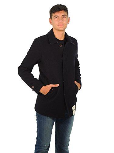 Camplin Herren Wolljacke Mantel Blau
