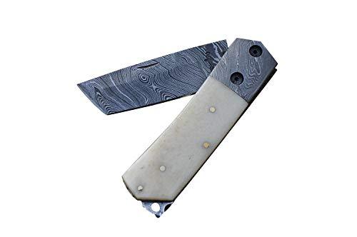 Klappmesser / Taschenmesser mit Damast-Klinge, handgefertigt, Tanto-Klinge