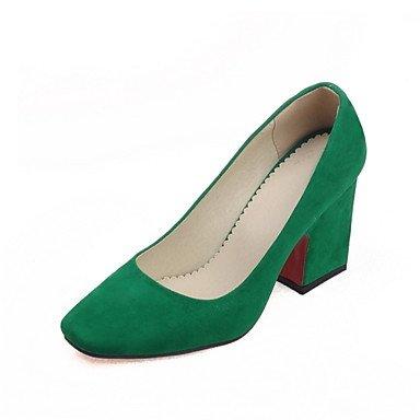 WSX&PLM Scarpe Donna - Scarpe col tacco - Tempo libero / Ufficio e lavoro / Casual - Tacchi - Quadrato - Finta pelle -Blu / Verde / Rosa / Grigio green