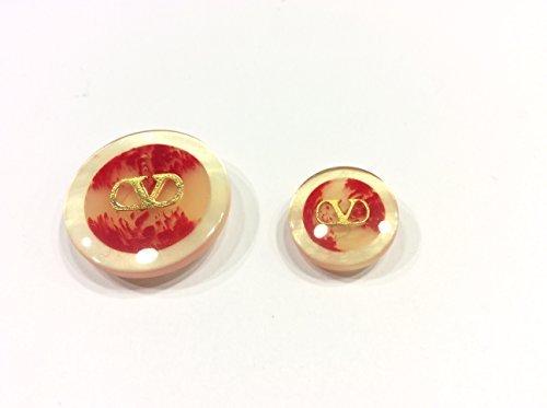 Zoom IMG-1 bottone v beige rosso decorazione