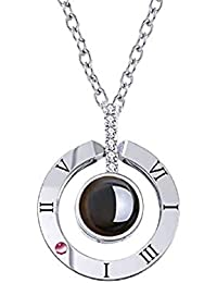 08005f5d99a iAmotus Love Memory Zircon Crystal Necklace Jewelry Set For Women 100  Languages I Love You Pendant