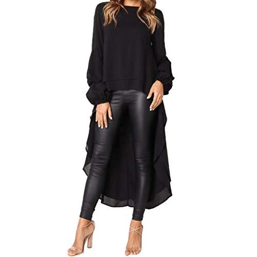TEBAISE Herbst Oktoberfest Stil Frauen Unregelmäßige Rüschen Shirt Langarm Sweatshirt Pullover Tops Bluse Party Clubbing Tanzanzug(Schwarz,EU-44/CN-L)