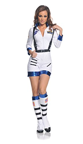 Kostüm Female Astronaut - Rocket Female Astronaut Stretch Romper Costume White Adult Small