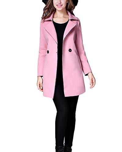 Yonglan donna caldo cappotto lungo slim fit doppio petto trench giacche invernali outerwear pink l