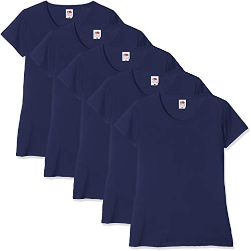 Fruit of the loom valueweight 5 pack, t-shirt donna, blu (navy 32), m