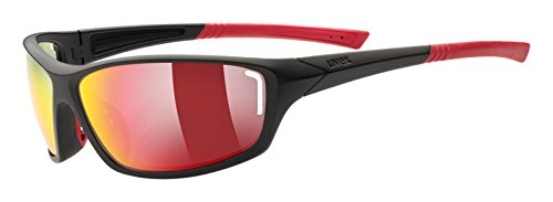 UVEX Sportsonnenbrille Sportstyle 210, Black Mat Red/Lens Mirror Red, One Size, 5306052316