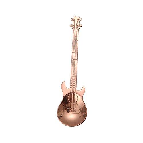 tyrrrdtrd Edelstahl personalisiert Löffel Gitarre Form Getränke-Dekoration Küche Werkzeug Geschenk Rose Gold - Gitarre Kleinkind Tee