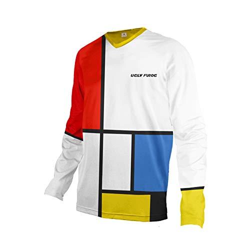 Uglyfrog Element MX Motocross Kurz/Langarm Jersey Trikot Shirt Enduro Offroad Motorrad Cross Erwachsene Promi-Gitter Malerei DEHerDownMK04