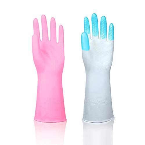 Yuccer Reinigung Handschuhe, Küche Gummihandschuhe Haushalt Rubber Glove Haushalt Geschirr Handschuhe Wasserdichte Cleaning Gloves (Rosa + Blau 2er Pack)