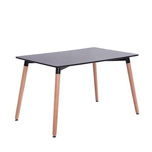 Inspiration Retro Tisch MDF 120x80 in Schwarz (Mdf-quadratischer Tisch)