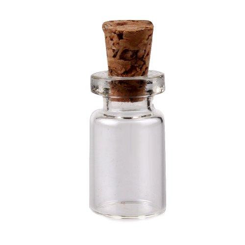 uhome 100Stück Mini Glasflaschen Cork Tops Nachricht Hochzeiten Wish Jewelry Partyzubehör Miniatur Glas Flasche mit Korken Top No418x 10mm Cork Top