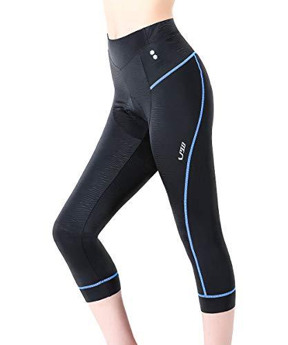 Swallow 3/4 gepolsterte Damen Radlerhosen Damen Radsport Shorts Radsportbekleidung MTB Damen Radsportbekleidung (Blau, Small)