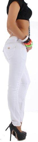 Taglio dritto Jeans dritto donna fianchi spessore confezionava 5 colori Jeans S 36 - XXL 44 Bianco