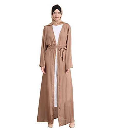fe488bee526 PRINCER Women Muslim Dress Summer Islamic Kimono Maxi Long Sleeve Nailed  Flower Lace Splicing Long Coat