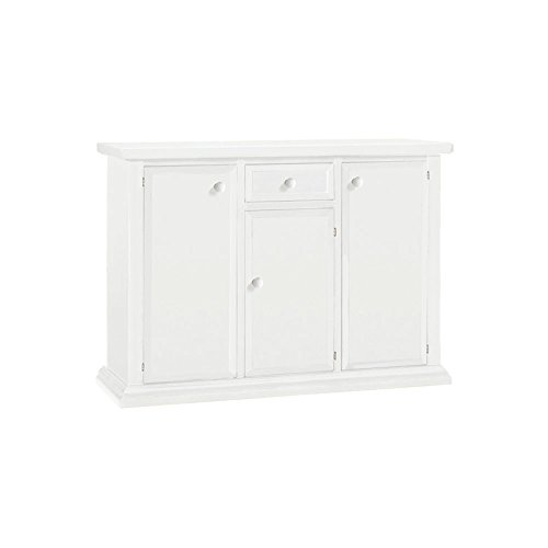 Buffet, style classique, en bois massif et MDF avec finition Blanc mat - Dim. 120 x 40 x 88