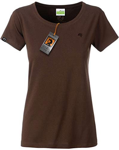 COMPANIEER JAN 8007 Damen Bio Baumwolle Basic Girlie T-Shirt Braun Frauen Women's Organic Cotton Größe L- OHNE Aufdruck (T-shirts Braune)