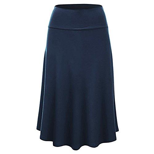 OverDose Damen Damen Mädchen Basic Solide Vielseitig Stretchy Informal Mini Skater Plus Size Flare Saum Hohe Taille Midi Rock Uniform ()