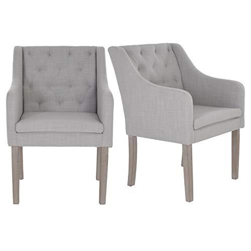 MACO Import 2er Set Loungesessel Esszimmerstühle Polstersessel mit Stoffbezug und Armlehnen in grau