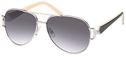 SAMBORA® B404-3 Unisex Sonnenbrille UV400 Schutz Aviator Style - Rahmen: Creme/Schwarz Glas: Schwarz