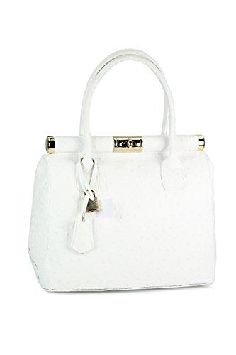 er Henkeltasche Handtasche Damen Ledertasche Umhängetasche in weiß strauss - 29x24x16 cm (B x H x T) ()