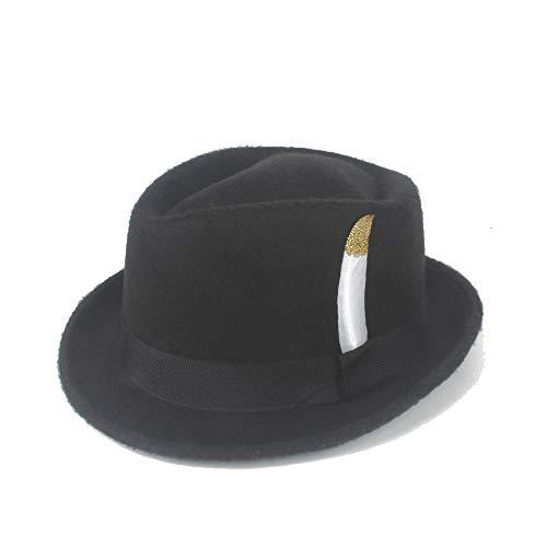 SANHENGMIAO STORE Für Damenhüte Jazz Hut, Fedora, weiße Feder Hut, männlichen Hut, Panama Hut, Vintage Hut, Kirche Hut (Farbe : Khaki, Größe : 56-58CM)