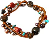 Fair Trade, Turquoise, Red Jade and Bronze Freshwater Pearl Handmade Bracelet