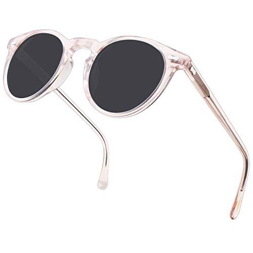 Carfia Retro Polarisierte Damen Sonnenbrille Outdoor UV 400 Brille für Fahren Angeln Reisen, Acetat-Rahmen (A - Rahmen: Pink; Linsen: Grau)
