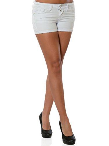 Damen Jeans Shorts Hot-Pants Kurze Hose Push-Up No 15902, Farbe:Weiß, Größe:L/40