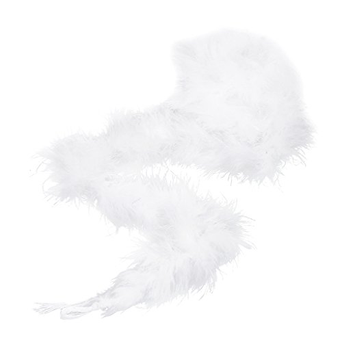 chiwanji 1 x Federboa Federbordüre Federborte Federbesatz Federfranse Kleidung Party - Weiß, 80 Zoll