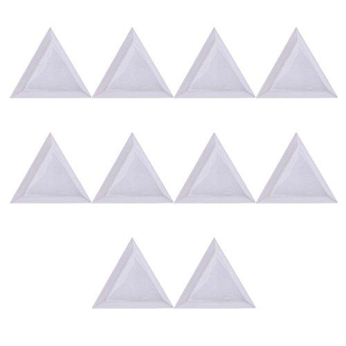Merssavo 10 pcs Triangle/perles rondes Strass Cristal Nail Art plateaux de tri Plastique