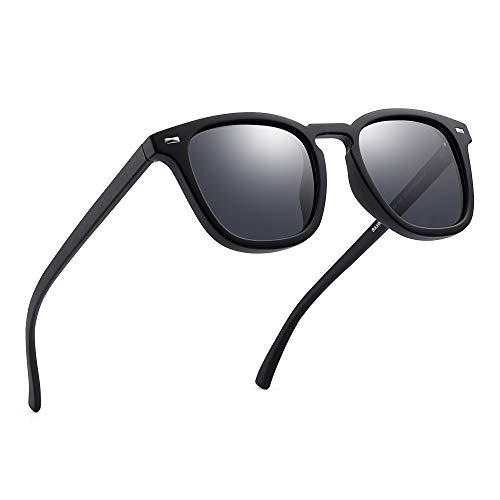 JIM HALO Retro Spiegel Polarisiert Sonnenbrille Klassisch Platz Fahren Brille Damen Herren(Schwarz/Polarisiert Grau)