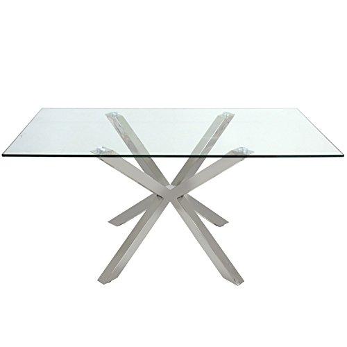 Tavolo moderno da pranzo in acciaio e vetro | Tavoli