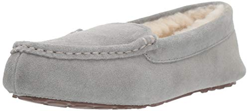 Amazon Essentials AMZ18-040 Damen Leder Moccasin Slipper, Grau(Light Grey), 36 EU (4 UK)