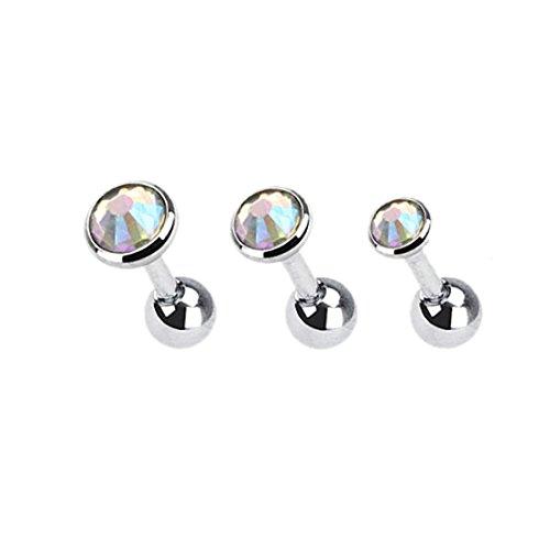 KULTPIERCING 3er Set Helix Tragus Cristal Ear - Multicolor