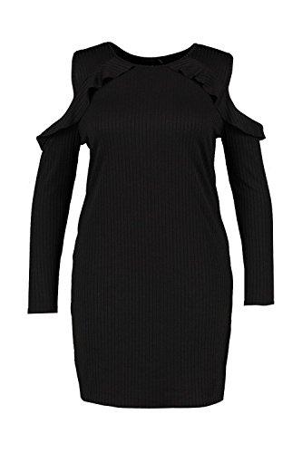 Noir Femmes Plus Willow Robe À Volants Et Épaules Dénudées Noir