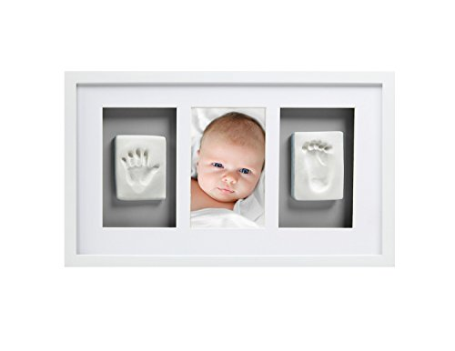 Pearhead Babyprints Newborn Baby Handprint and Footprint Deluxe Wall Photo Frame & Impression Kit with Gray Mat, White