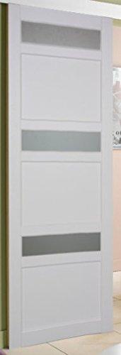 PORTE INTERIEURE en enrobé blanc, LARGEUR 83 CM