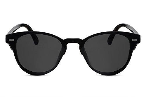 Cheapass Sonnenbrille Rund Schwarz Sport-lich Stylisch Flach UV-400 Plastik Damen Herren